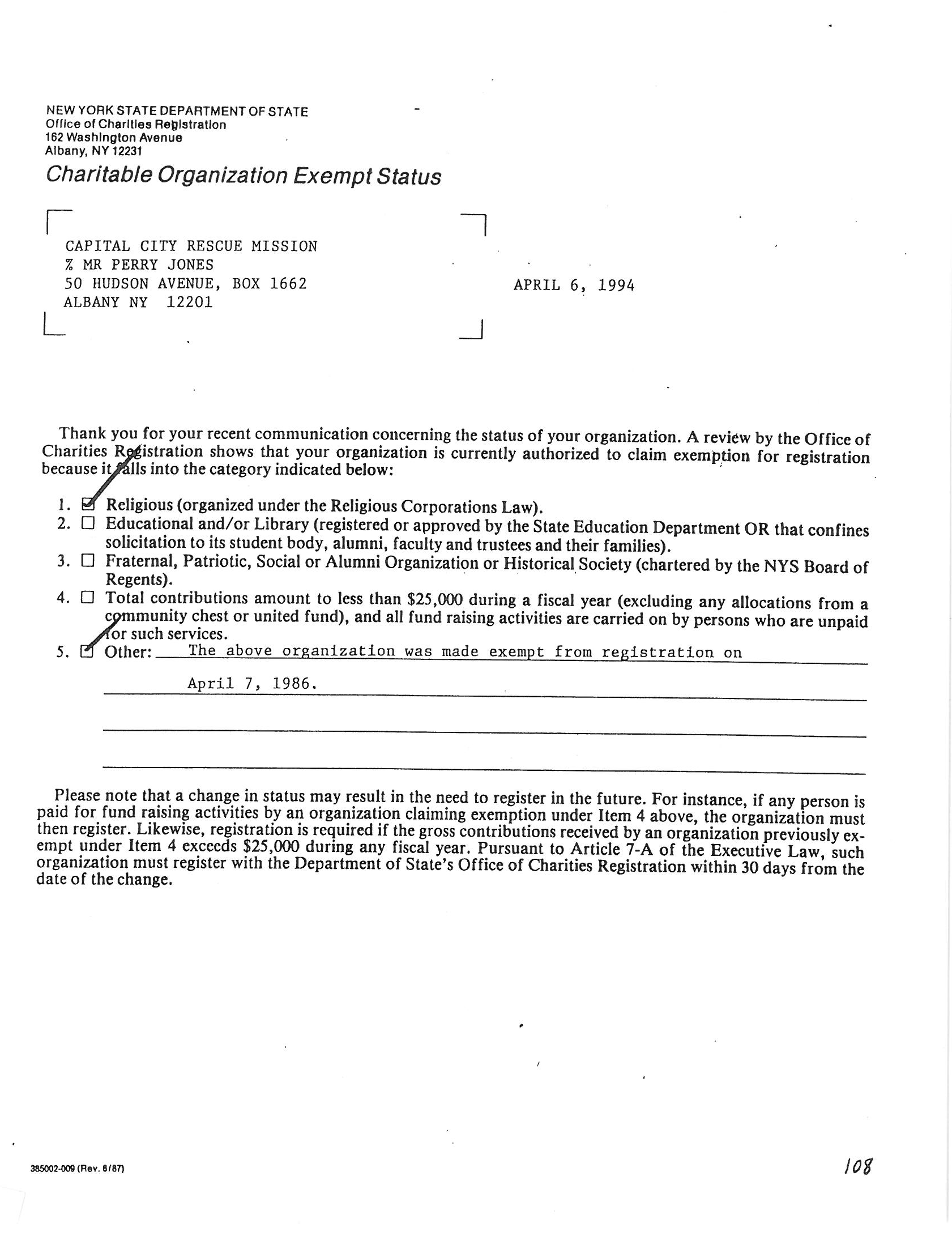 Charitable org exempt status ny state deptfwg 1betcityfo Image collections